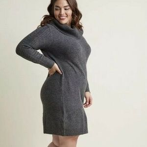 ModCloth M Charcoal Gray Cable Knit Dress